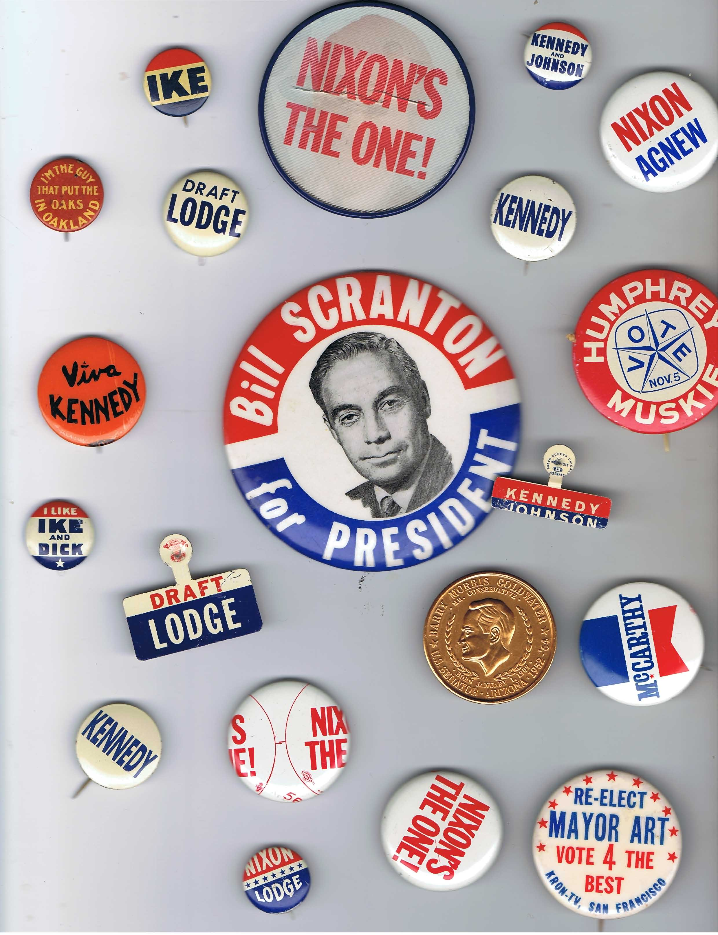 HISTORICAL POLITICAL BUTTONS – ANTI ROOSEVELT, GOLDWATER-JOHNSON, NIXON,IKE, ETC