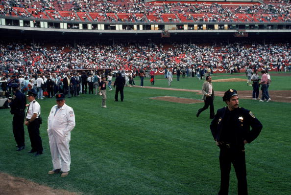 General view of Candlestick Park after the earthquake